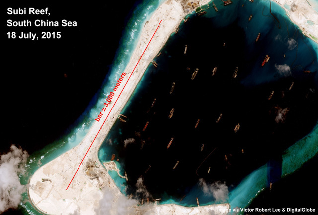 Subi Reef, Spratly Islands, South China Sea. Photo courtesy of Victor Robert Lee/DigitalGlobe   Photo by Victor Robert Lee/Digital Globe