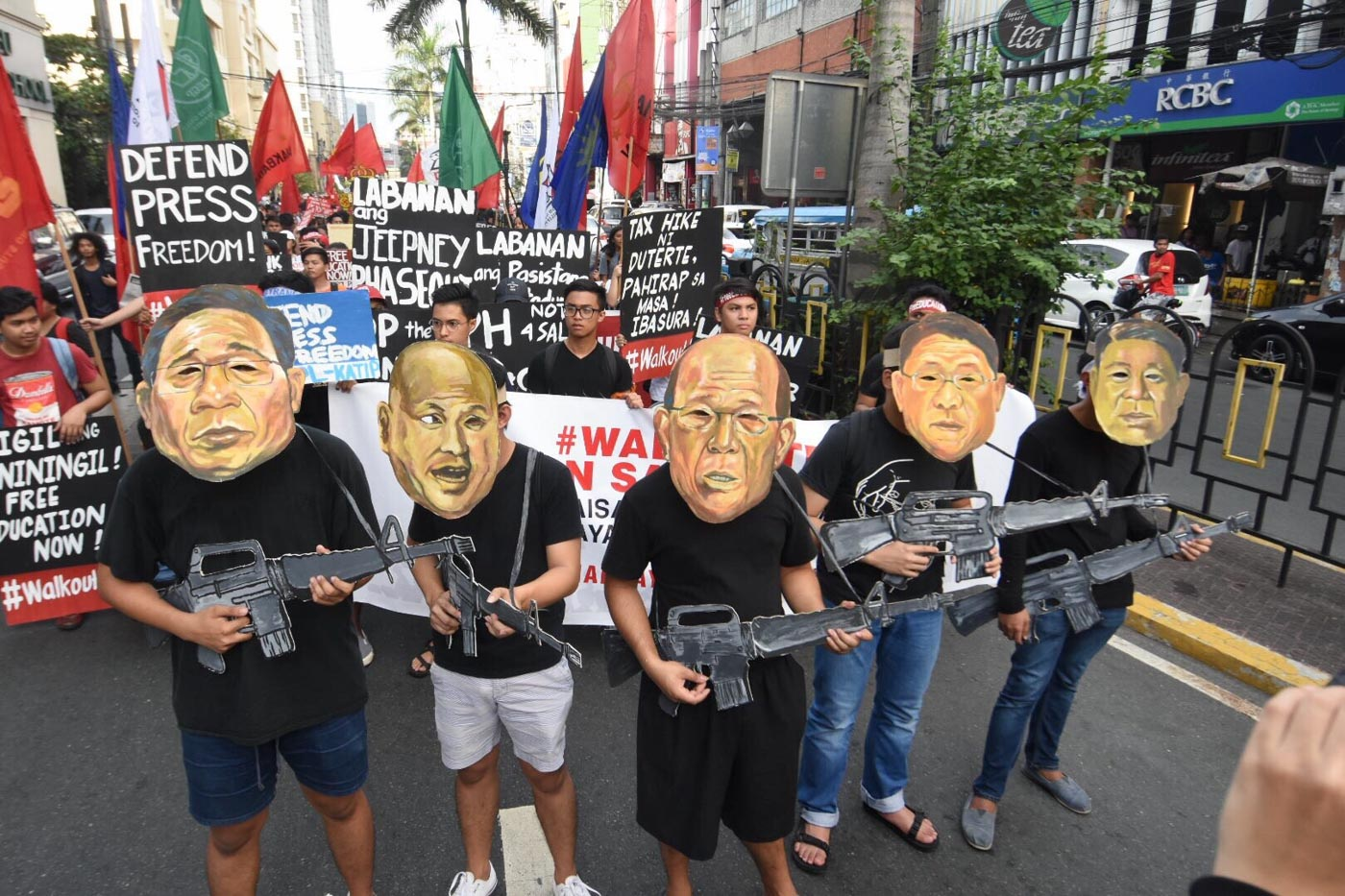 ADMINISTRATION. Caricatures of the several personalities from the administration of President Rodrigo Duterte lead the nationwide protest in Mendiola. Photo by Angie de Silva/Rappler