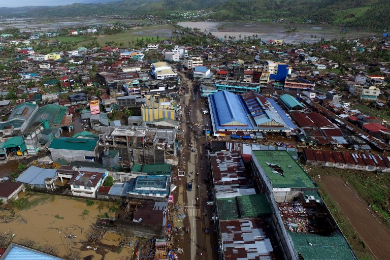 TYPHOON-HIT TOWN. An aerial photo shows Polangui, Albay after Typhoon Nina (Nock-ten) made landfall, December 26, 2016. File photo by Charism Sayat/AFP