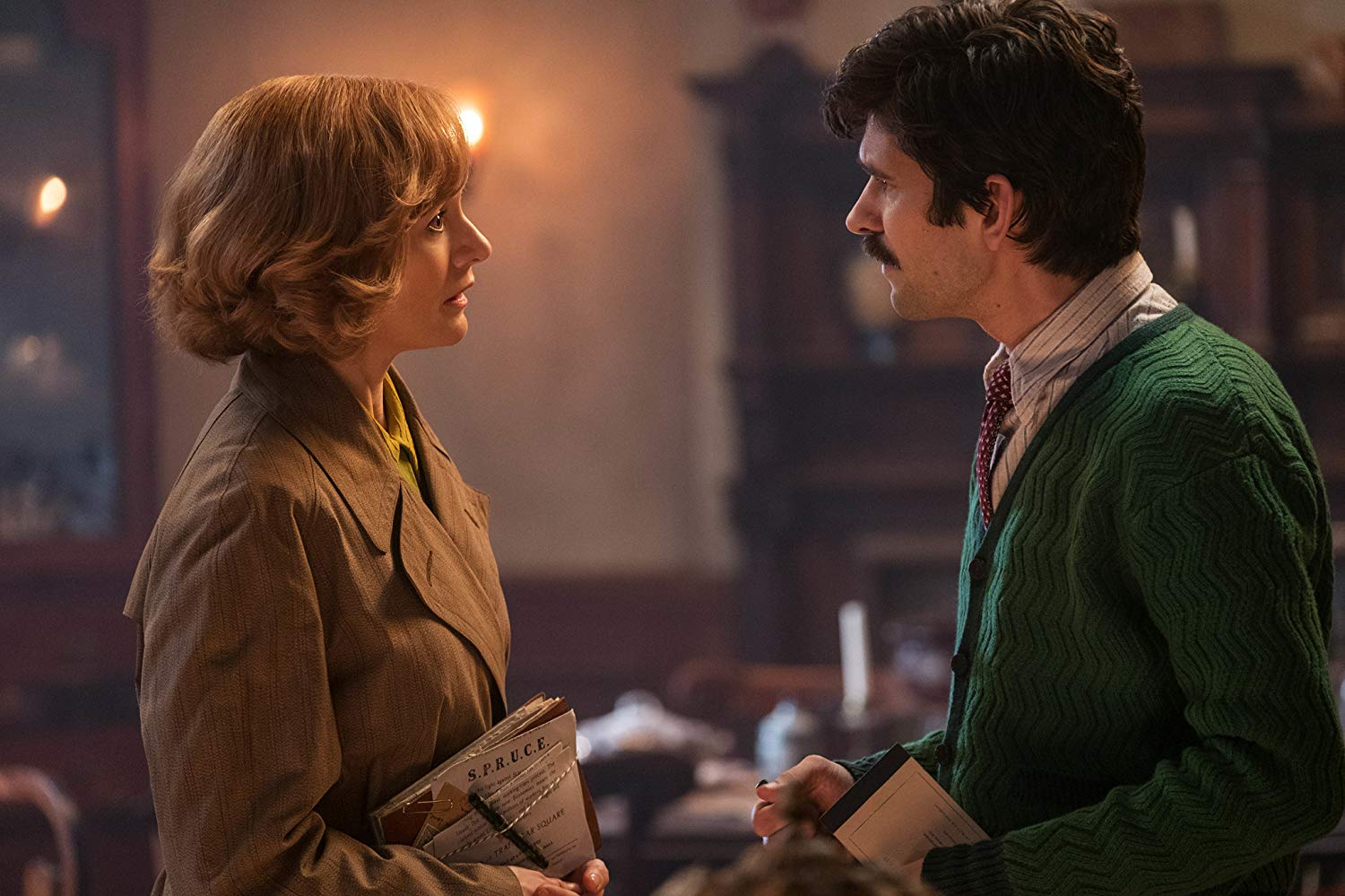 TROUBLE. Michael Banks (Ben Whishaw) talks with his sister Jane as they try to solve their problems with the house.