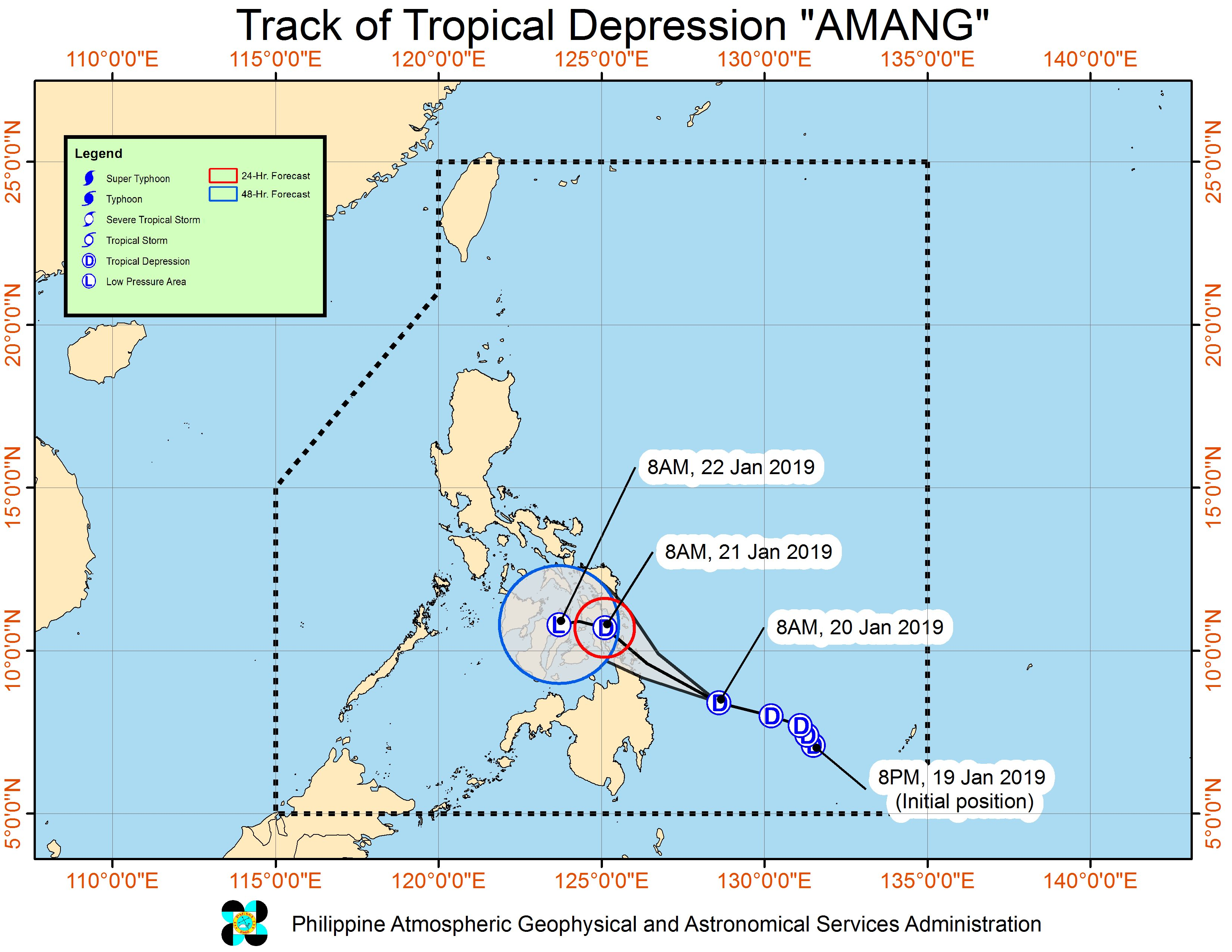 Signal No  1 in 13 areas as Tropical Depression Amang heads
