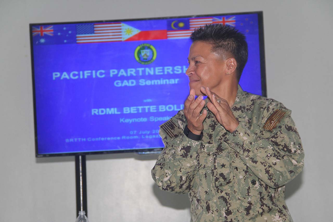 COMMANDER. Rear Admiral Bette Bolivar, the first female Filipino-American official of the United States Armed Forces, talks about the role of women in peace and security and disaster response efforts. Photo by Rhaydz B. Barcia