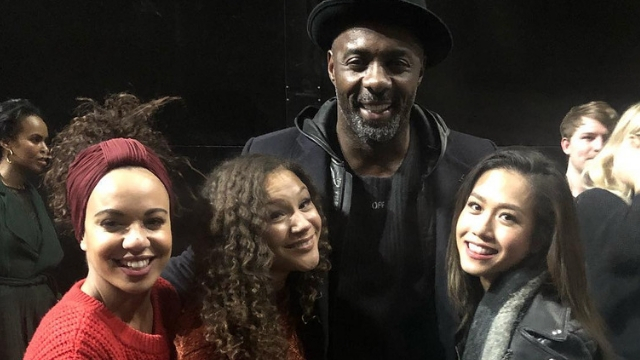 PHOTO OP. 'Hamilton' stars Courtney Mae Briggs, Allyson Brown, and Rachelle Ann Go snap a photo with Idris Elba, who watched the show on West End. Screenshot from Instagram.com/gorachelleann