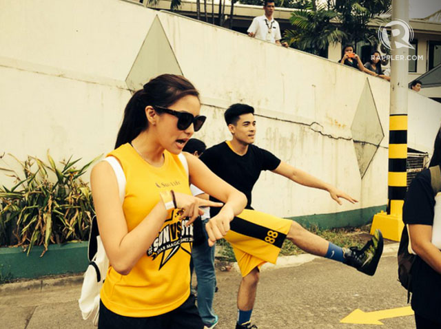 Kim Chiu and Xian Lim getting ready for the race.