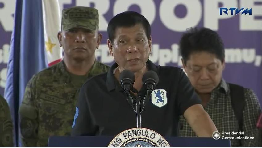 STAR TROOPERS. President Rodrigo Duterte addresses star troopers in Isabela on September 17. RTVM screengrab