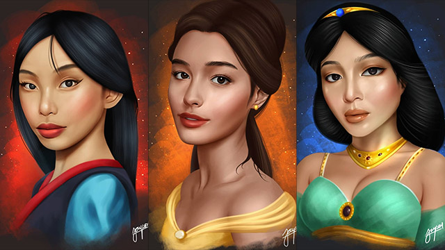 DISNEY PRINCESSES. Artist Kenneth Jayson shares some of drawings of Maymay Entrata, Liza Soberano, and Nadine Lustre as Disney princesses. Photos from Facebook/Kenneth Jayson Recto