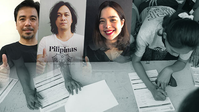 #GOREGISTERPH. Some of the OPM scene's biggest names encourage their listeners to register as voters. Photos from Instagram.com/buddyzabala, Instagram.com/raymsmercygun, and Instagram.com/saabmagalona