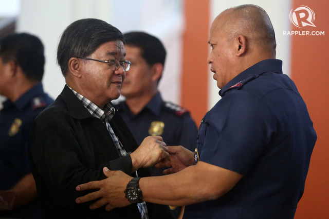 KIDNAPPING CASE. PNP chief Ronald dela Rosa (right) says SPO3 Ricky Sta Isabel has since surrendered to the NBI, which is under Justice Secretary Vitaliano Aguirre II (left). File photo by Ben Nabong/Rappler