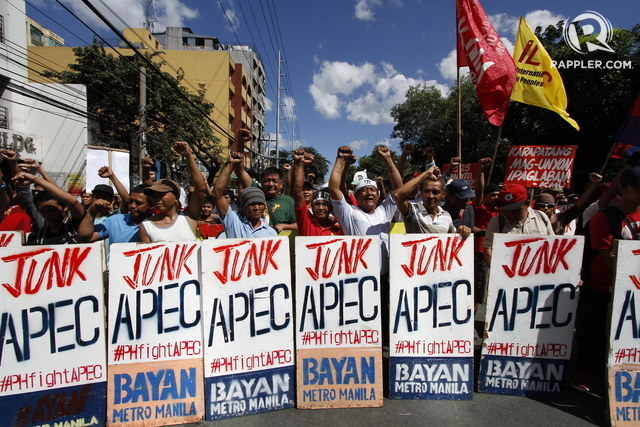 ANTI-APEC. Police blast Katy Perry's 'Roar' from speakers to disperse a rally during the APEC summit. In the photo, Militants stage their anti-APEC Protest along Gil Puyat Ave. Mark Z. Saludes/Rappler.com