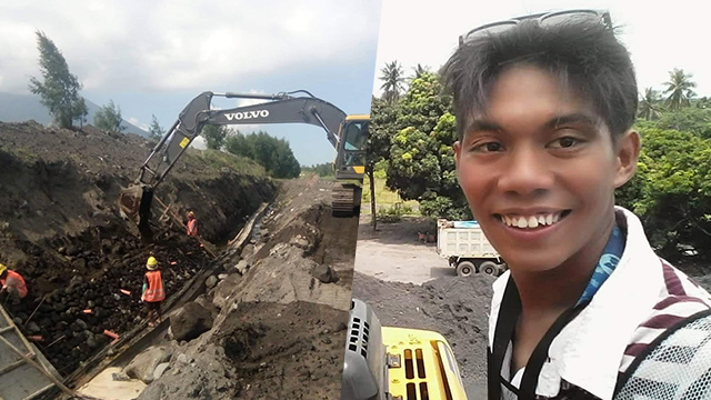 LIFE CHANGER. 18-year-old Stonelieh Constante takes a photo at their site. He is now working as a hydraulic excavator. Photos courtesy of Stonelieh Constante