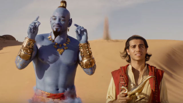 THREE WISHES. Genie (Will Smith) is released by Aladdin (Mena Massoud) from the lamp on their first meeting. Screenshot from YouTube/Walt Disney Studios