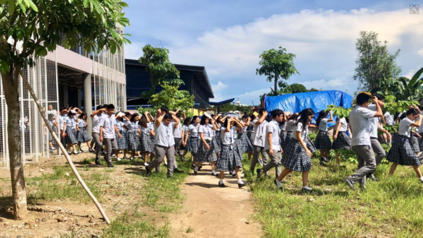 DRILL. Ateneo de Davao University senior high school students. Photo from Ateneo de Davao University Senior High School Twitter page