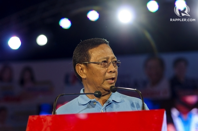 THE CANDIDATE. Vice President Jejomar Binay promises a better life for Filipinos during his miting de avance on May 7, 2016. Photo by Rob Reyes/ Rappler