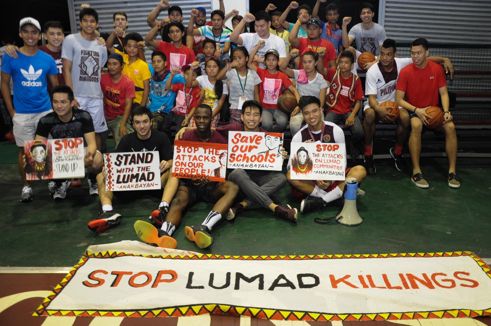 STOP LUMAD KILLINGS. UP Fighting Maroons show their support for the Lumad in Mindanao