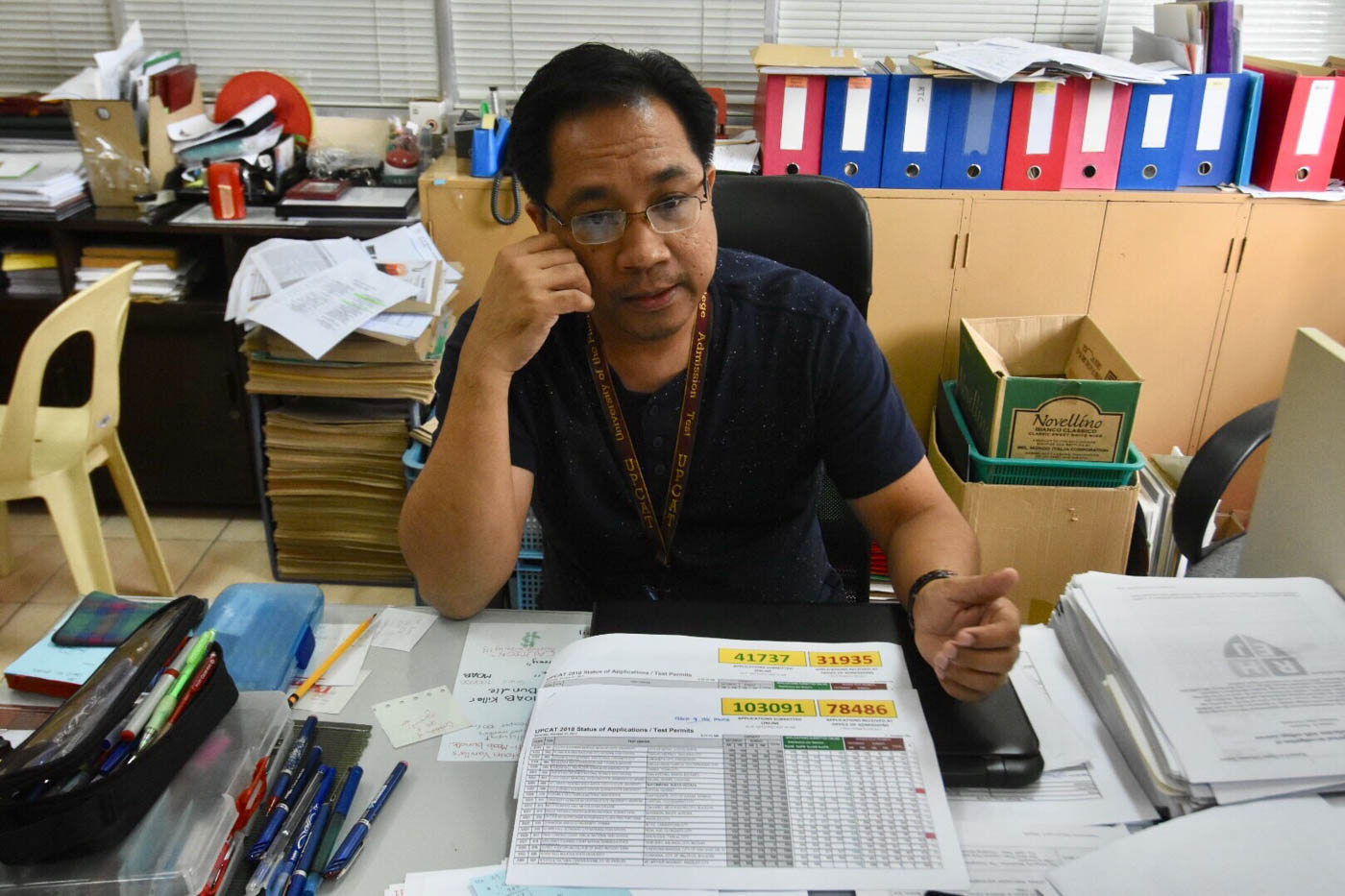 UPCAT NUMBERS. UP Assistant Director for Test Admnistration Melvin Luis Sabado shows the number UPCAT takers per examination centers