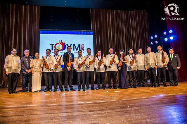 TOYM 2015 AWARDEES. Ten exceptional young Filipinos worth emulating are honored at The Outstanding Young Men (TOYM) 2015 Awards held at the Meralco Theatre in Pasig City on January 27, 2016. Photo by Rob Reyes/Rappler