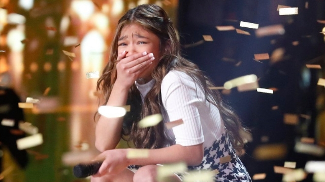 POWERHOUSE. 11-year-old Angelica Hale gets her second Golden Buzzer on 'America's Got Talent: The Champions.' Screenshot from Twitter.com/nbc