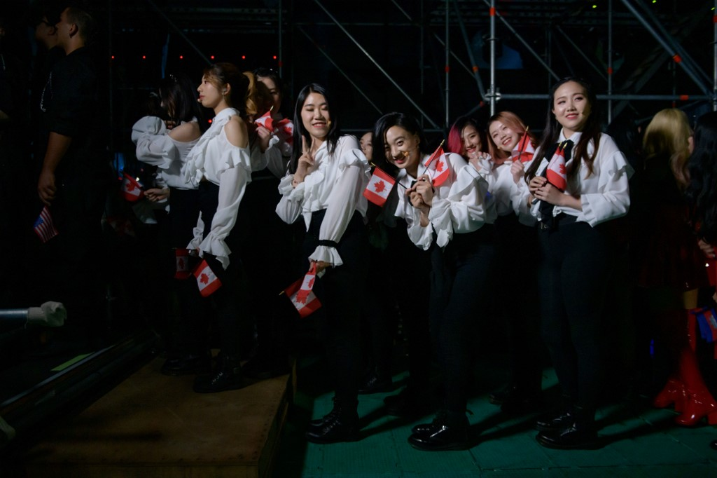 PARTICIPATION. Competitors from Canada queue to enter the stage prior to their performance at the 'K-pop World Festival' in Changwon. Photo by Ed Jones/AFP