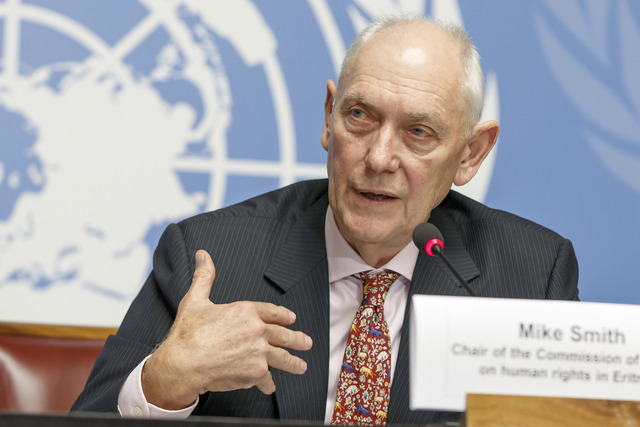 FINDINGS. Mike Smith, Chair of the UN Commission of Inquiry on human rights in Eritrea, informs the media about his second report, during a press conference at the European headquarters of the UN in Geneva, Switzerland, June 8, 2016. Photo by Salvatore Di Nolfi/EPA