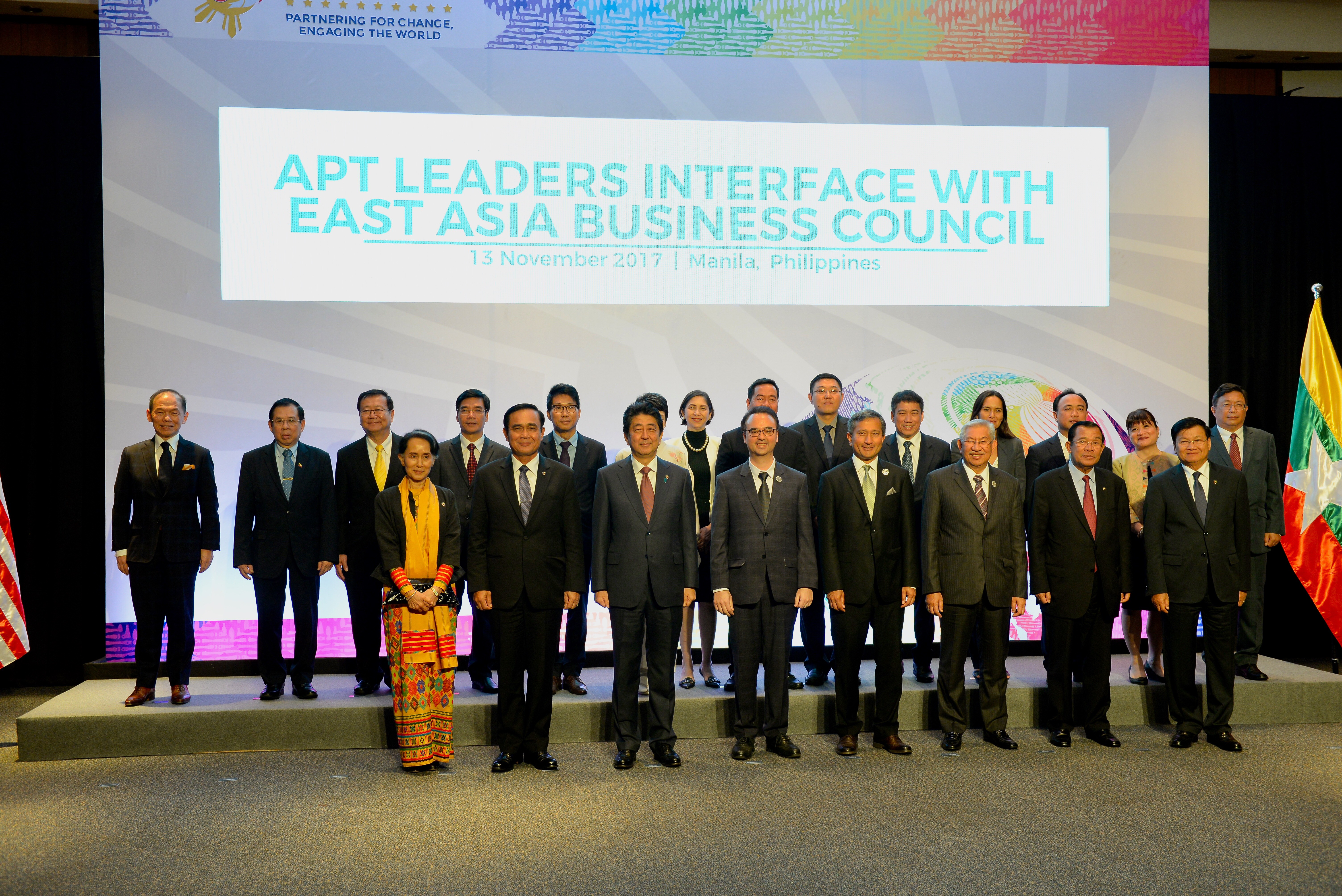 ASEAN PLUS THREE. The leaders of the ASEAN Plus Three, which includes ASEAN member-states, People's Republic of China, Japan, and the Republic of Korea, pose for a photo during the 20th APT Commemorative Summit. Photo by Angie de Silva/Rappler