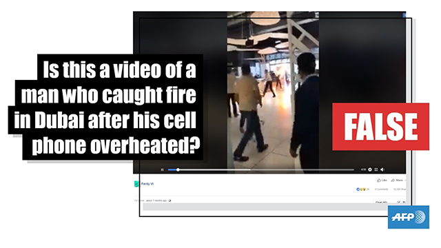 FALSE: Video of man who caught fire in Dubai after his cell