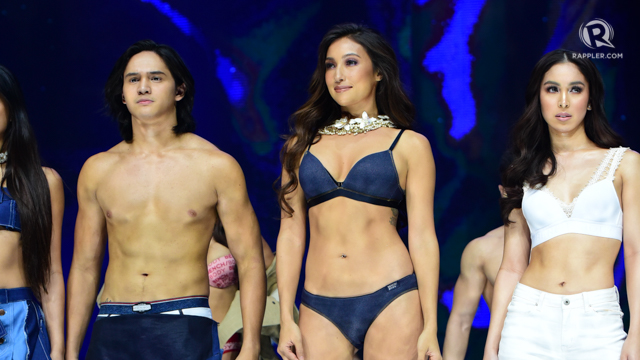 UNDER THE STARS. From left to right: Ruru Madrid, Solenn Heussaff and Julia Barretto walk the Bench Fashion Show 2017. All photos by Alecs Ongcal/Rappler