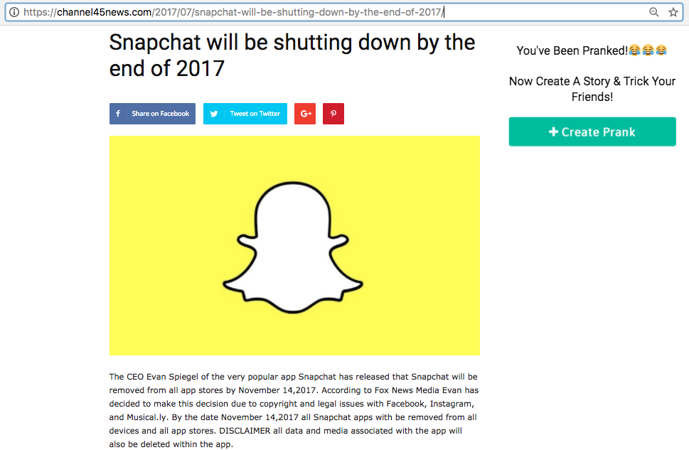 Rumors of Snapchat shutting down by 'end of 2017' debunked