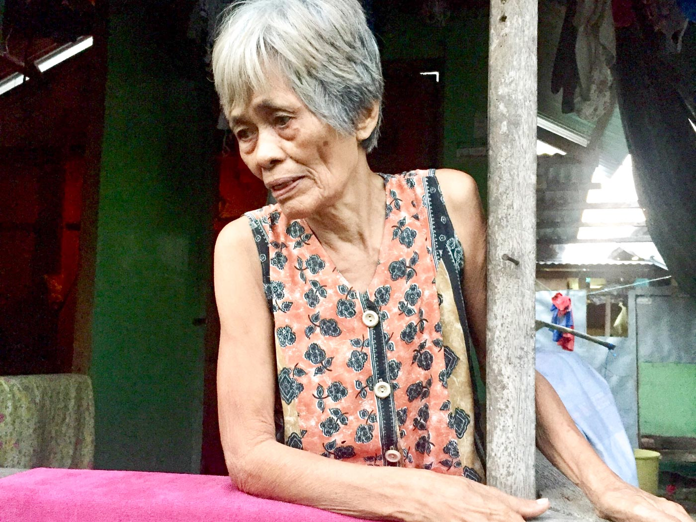NOT FORGOTTEN. Four years since Super Typhoon Yolanda hit her hometown, Priscilla Mia, 73, remembers her daughter and her grandchild who died when a storm surge submerged their house in Tacloban. Photo by Ailene Liporada