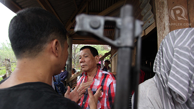 VISITOR AT THE CAMP. Davao City vice-mayor Rodrigo Duterte during a visit to an NPA camp in Compostela Valley during the anniversary of the Communist Party of the Philippines. Photo by Karlos Manlupig.