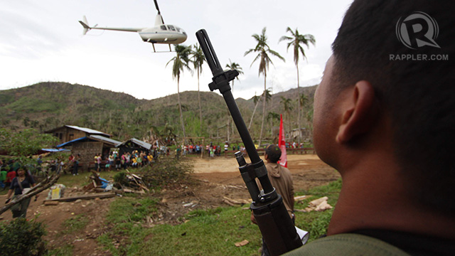 The chopper that brought Davao City vice-mayor Rodrigo Duterte to the NPA's Compostela Valley camp. Photo by Karlos Manlupig.