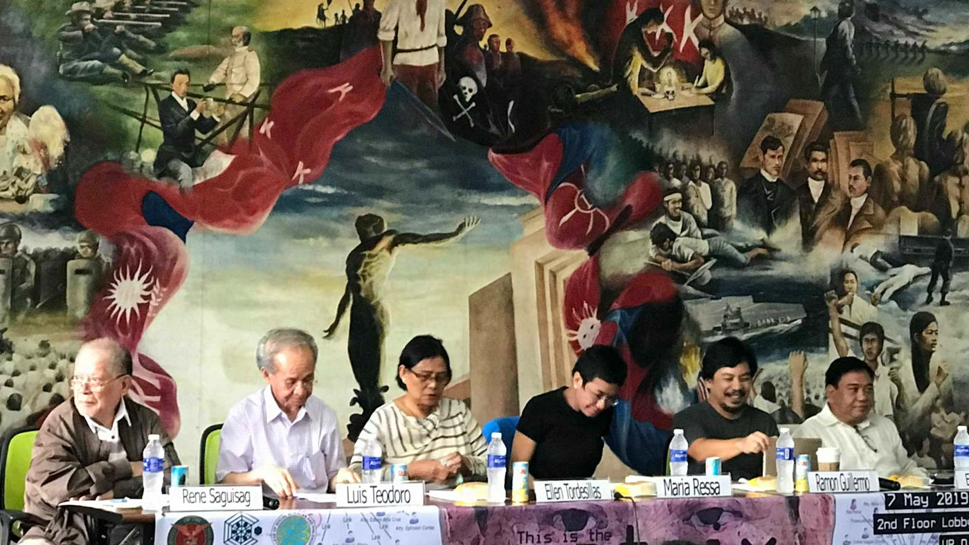 """TRUE MATRIX. Some of the individuals linked to the so-called """"Oust-Duterte matrix"""" gathered at the University of the Philippines Diliman for a forum organized by the Third World Studies Center on Tuesday, May 7. Photo by Kurt Dela Peña/Rappler"""