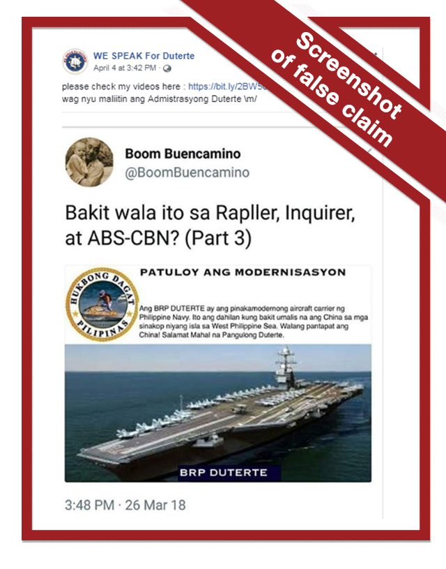 FALSE: 'BRP Duterte aircraft carrier' drives Chinese out of