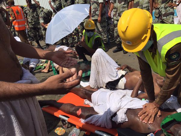 TRAGEDI MINA. Foto: Akun twitter resmi Direktur Jenderal Pertahanan Sipil Kerajaan Saudi Arabia @KSA_998