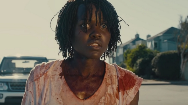 'US'. Lupita Nyong'o leads the cast in Jordan Peele's upcoming film. Screenshot from YouTube.com/UniversalPictures