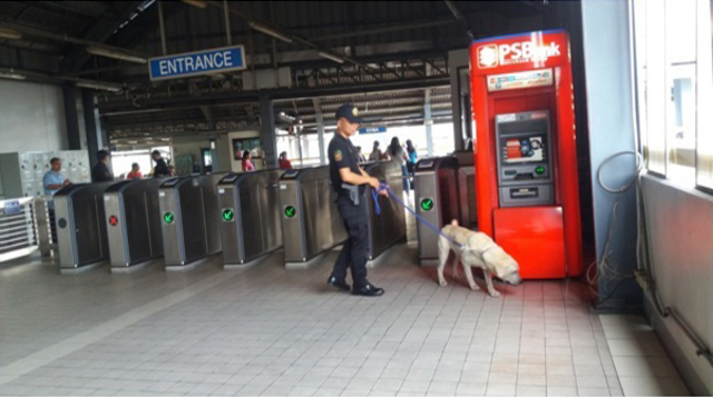 SECURING COMMUTERS. Security checks are conducted at train stations in Metro Manila. NCRPO Photo