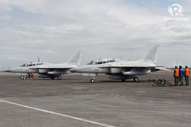 NO LONGER A JOKE. Two FA-50PH aircraft arrive at the Air Force City base in Clark, Pampanga, on November 28, 2015. Photo by Edwardo Solo/Rappler