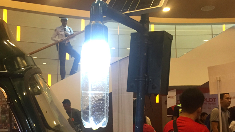 HANDMADE. Pictured is one of Liter of Light's plastic solar powered lights on the first day of the Agos Summit on Disaster Preparedness.