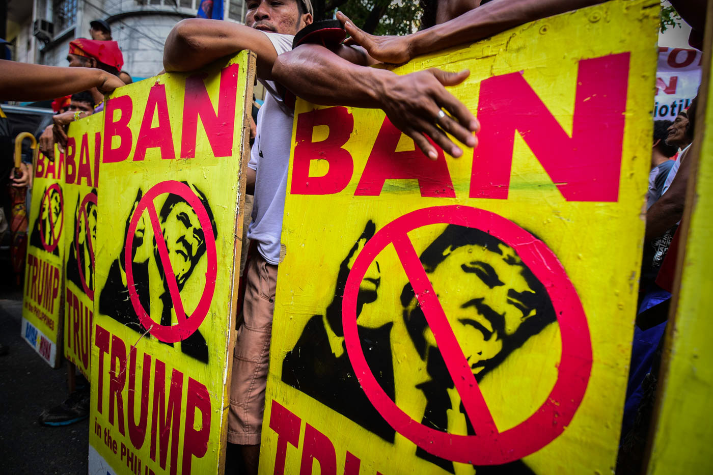 BAN TRUMP. Various protest groups held a rally near the US Embassy to protest US Pesident Donad Trump's visit to the Philippines during the ASEAN Leader's Summit on Sunday, November 12. Photo by Alecs Ongcal/Rappler