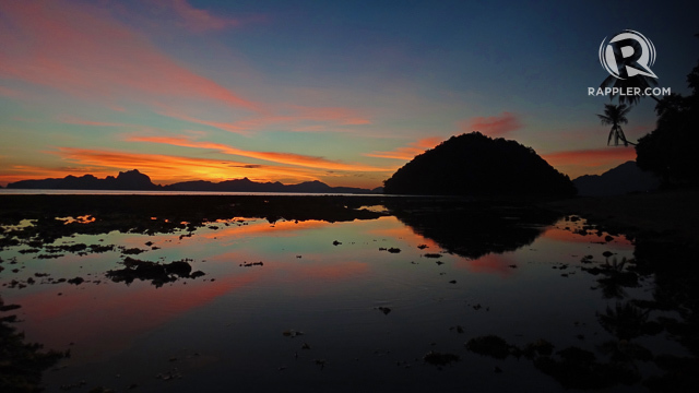 BEACH SUNSET. Maramegmeg Beach is the most popular yet still quiet spot to watch the sunset in El Nido