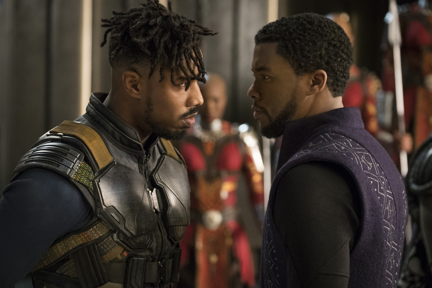 POWERFUL. Michael B Jordan and Chadwick Boseman star in the 2018 film 'Black Panther.' Photo by Matt Kennedy/Marvel Studios