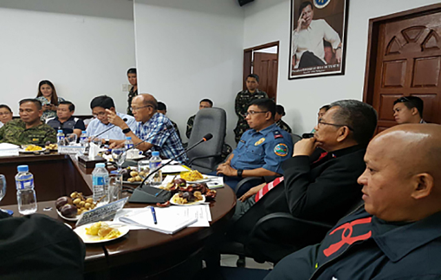 DAVAO BLAST. PNP chief Director General Ronald dela Rosa (far right) during the Command Conference of the Regional Peace & Order Council meeting at the PRO11 headquarters in Davao City on September 3, 2016. Photo by Col. Edgard Arevalo/AFP PAO
