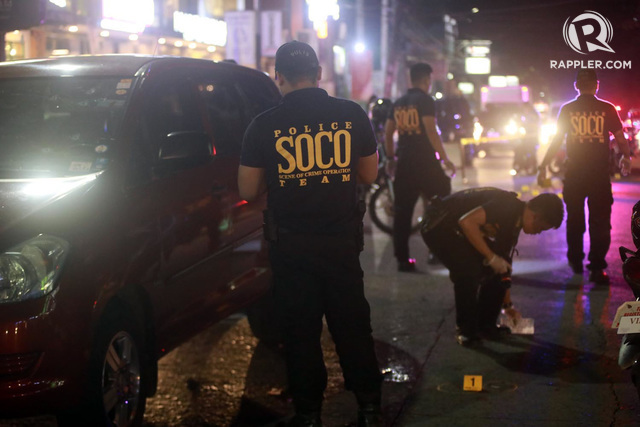SCENE of the Crime Operatives inspect QC Assistant Prosecutor Rogelio Velasco's bullet-riddled car at Don Antonio Heights on Friday evening, May 11, 2018. All photos by Darren Langit/Rappler