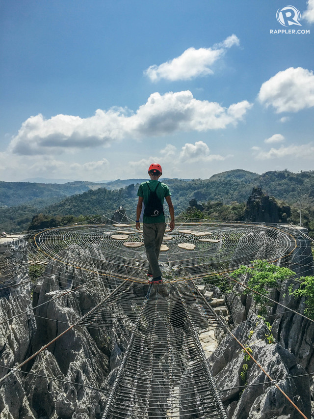 SAPOT. Formed in the shape of a spider web, Sapot is a viewing deck high above the peaks of Masungi. Photo by Nicole Reyes/Rappler