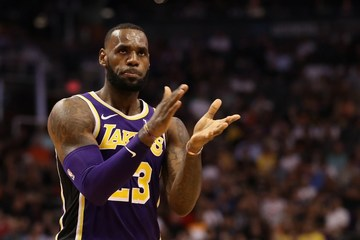 81e131be34ae LeBron James says he s optimistic the Lakers can lure more topnotch  talents. Photo