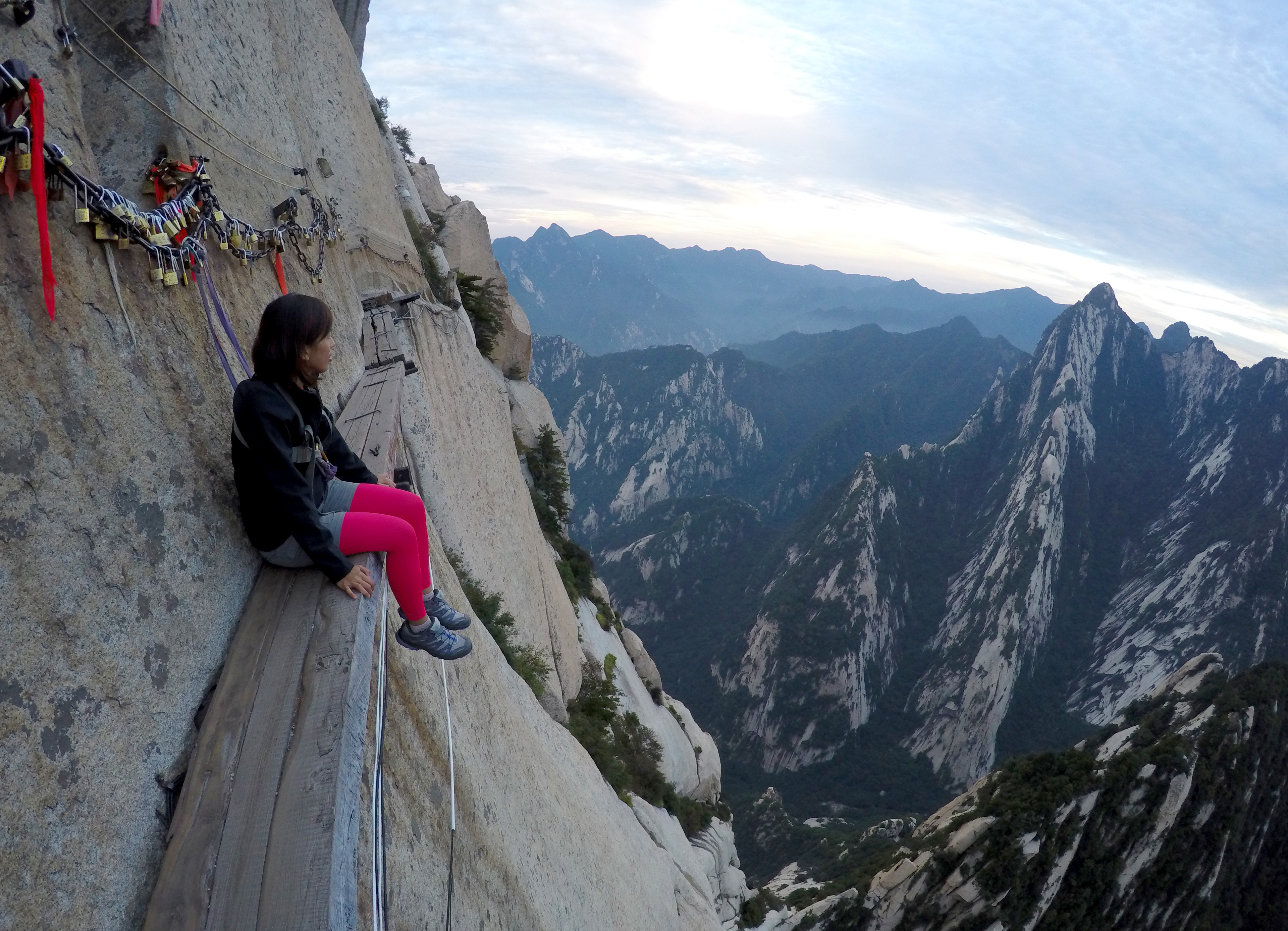 Hiking the plank road in sky of mount hua one
