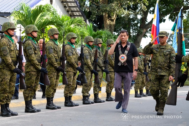 MEETING IP LEADERS. President Rodrigo Duterte arrives at the Naval Station Felix Apolinario in Panacan, Davao City, to attend the Indigenous Peoples Leaders' Summit on February 1, 2018. Malacañang photo