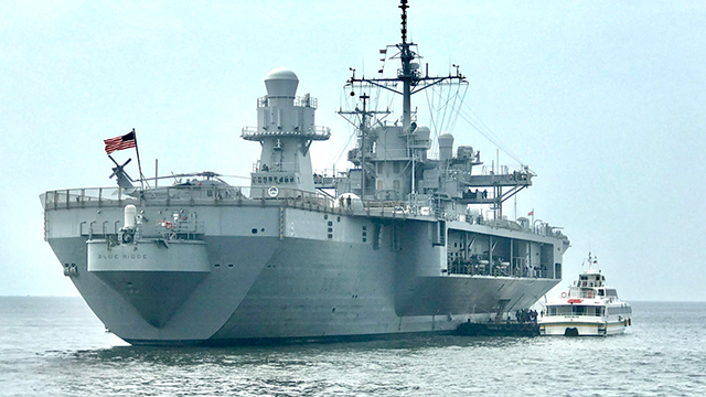 MANILA VISIT. USS Blue Ridge stops by off the coast of Manila on Wednesday, March 13. Photo by Rambo Talabong/Rappler