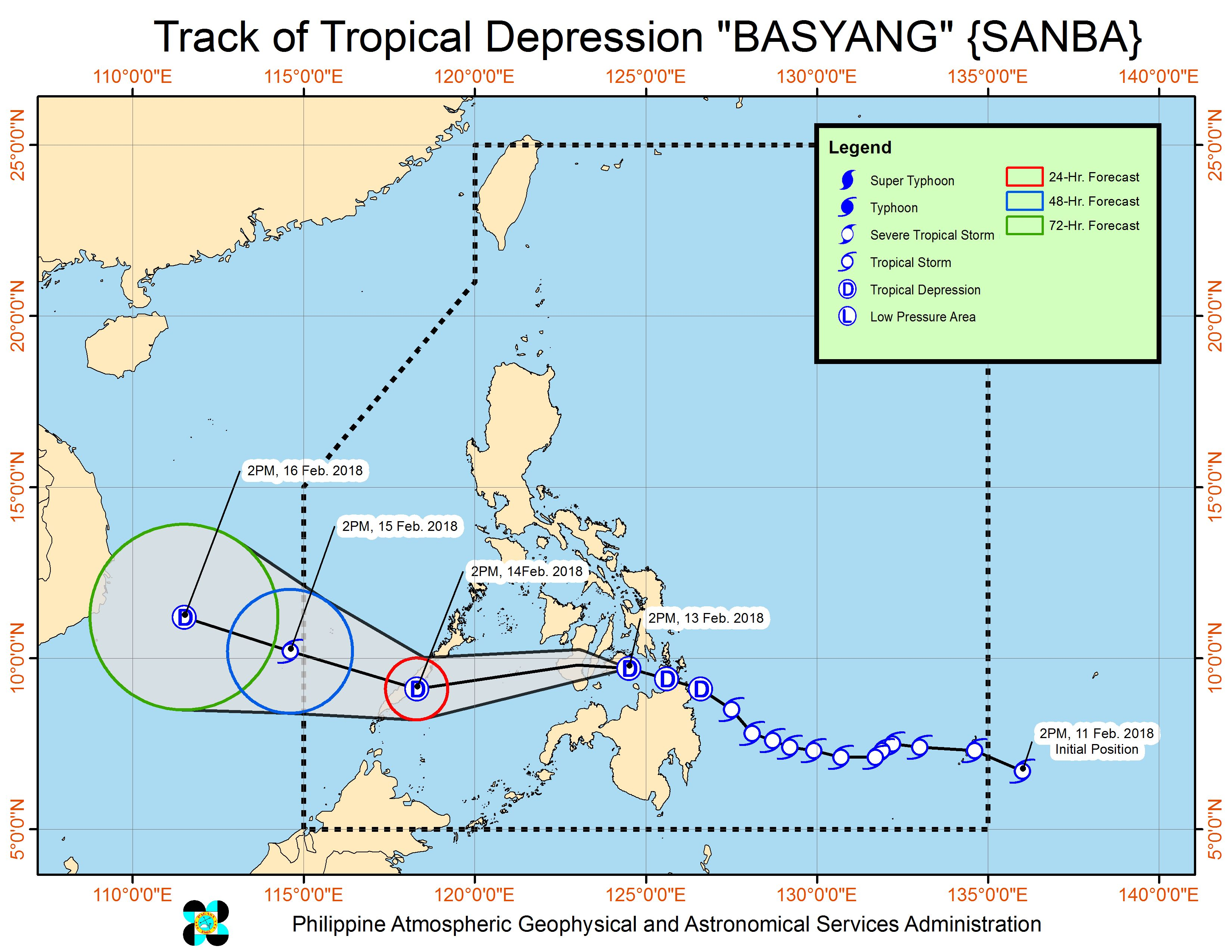 Tropical Depression Basyang slightly weakens over Bohol Sea