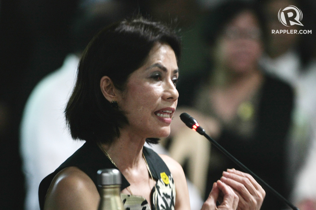 PASSION. Environment Secretary Gina Lopez speaks during one of her confirmation hearings before the Commission on Appointments. File photo by Jasmin Dulay