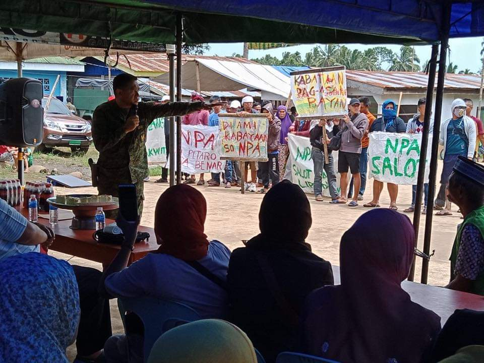 CEREMONY.  Brigadier General Romeo Brawner, commander of the 103rd Infantry Brigade, talks to residents of Lumba Bayabao town in Lanao del Sur on August 2, 2019. Photo from 103rd IB Civil Military Operations command